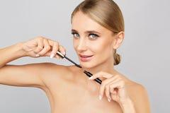 Schönheitsfrau mit vollkommener Haut Anwenden des Make-upkonzeptes Stockbilder