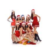 Schönheitsfrauen in den Weihnachtskostümen Stockbilder