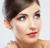 Schönheitsfrauen-Gesichtsabschluß herauf Porträt Stockbild