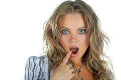 Schönheitsfrauen-Wundergesicht mit geöffnetem Mund Stockbilder