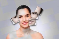 Schönheitsfrauengesicht skincare Konzept lizenzfreie stockbilder