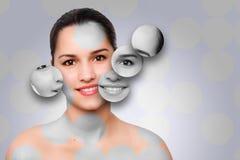Schönheitsfrauengesicht skincare Konzept stockbild