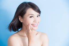 Schönheitsfrauenlächeln glücklich Stockbild