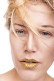Schönheitsgesicht mit Luxusgoldmake-up Lizenzfreie Stockfotografie