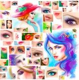 Schönheitsgesichtscollage abstrakte Illustration der Mode Stockfotografie