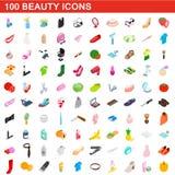 100 Schönheitsikonen eingestellt, isometrische Art 3d Stockbild