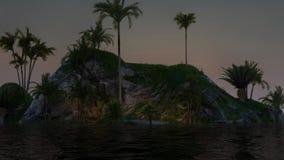 Schönheitsinsel bei Sonnenuntergang mit Palmen lizenzfreie abbildung