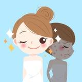 Schönheitskarikatur skincare Frau stock abbildung