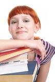 Schönheitskursteilnehmermädchen mit Buch Lizenzfreies Stockbild