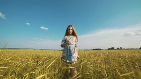 Schönheitsmädchen, das auf gelbem Weizenfeld über Sonnenunterganghimmel läuft Getrennt auf Schwarzem Glückliche Frau draußen Ernt stock video