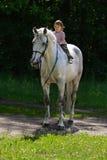Schönheitsmädchen, das ohne Sattel durch graues Pferd reitet Lizenzfreies Stockbild
