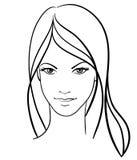 Schönheitsmädchen-Gesichtsikone Stockbild