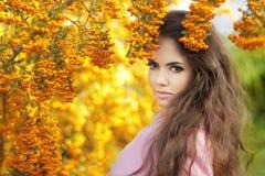 Schönheitsmädchen-Herbstporträt der Mode modisches Brunettefrau vorbei Stockfotos