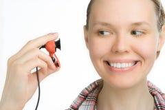 Schönheitsmädchenblick im webcamera Lizenzfreie Stockfotos