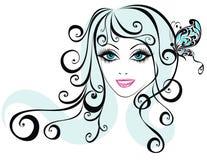 Schönheitsmädchengesicht mit Basisrecheneinheit Stockfoto