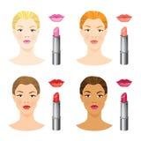 Schönheitsmädchengesicht mit unterschiedlichem Hautton und den verschiedenen Lippen und Haarfarbe Stockbilder