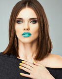 Schönheitsmädchenmodell Schließen Sie herauf Gesicht Schöne Frau Stockfoto