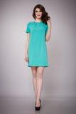 Schönheitsmode kleidet zufälligen Sammlungsfrauen-Modell Brunette lizenzfreies stockfoto