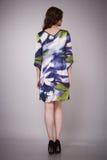 Schönheitsmode kleidet zufälligen Sammlungsfrauen-Modell Brunette stockfoto
