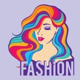 Schönheitsmode-modell-Frauen mit dem langen bunten Haar Stellen Sie Mädchen mit dem langen Haar, schöne Frisur mit Locken gegenüb vektor abbildung