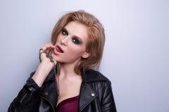 Schönheitsmode-modell-Frauengesicht Lizenzfreie Stockfotos