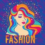 Schönheitsmode-modell-Mädchen mit buntem gefärbtem buntem langhaarigem Porträt des Haares Lizenzfreie Stockfotografie