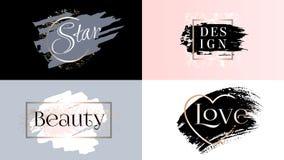 Schönheitsmoderahmenikonen-Logosatz Kosmetik goldene Farbe, Tintenpinselstrich, Bürste, Linie oder Beschaffenheit stock abbildung