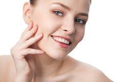 Schönheitsnahaufnahme-Frauengesicht stockbilder