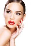 Schönheitsporträt, Schönheit auf weißem Hintergrund lizenzfreies stockbild