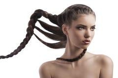 Schönheitsportrait eines Brunette mit dem langen Flechtenhaar Lizenzfreies Stockfoto