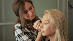 Schönheitssaal Maskenbildner malt Augenbrauen mit einer Bürste Wäsche #38 stock video