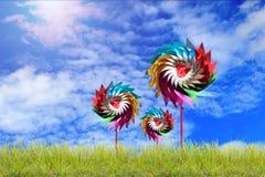 Schönheitssommer, abstrakte Klimahintergründe mit Turbine Stockbilder