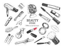 Schönheitsspeicherhintergrund mit bilden Künstler- und Frisurngegenstände: Lippenstift, Creme, Bürste Schablonen-Vektor Hand geze lizenzfreie abbildung