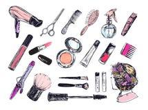 Schönheitsspeichersammlung mit bilden Künstler- und Frisurngegenstände: Lippenstift, Creme, Bürste Schablonen-Vektor Hand gezeich vektor abbildung