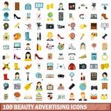 100 Schönheitswerbungsikonen eingestellt, flache Art Stockfoto