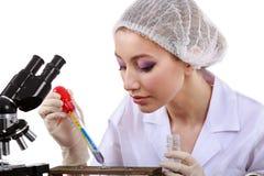 Schönheitswissenschaftler im Labor führen verschiedene Operationen durch Stockbild