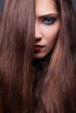 Schönheitvorbildlicher sinnlicher Brunette - glattes Brown-Haar Lizenzfreie Stockfotos
