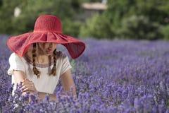 Schüchterne Frau auf einem Lavendelgebiet Lizenzfreies Stockfoto