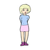 schüchterne Frau der komischen Karikatur Stockfoto