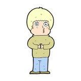 schüchterner Junge der komischen Karikatur Lizenzfreies Stockbild