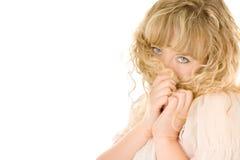 Schüchternes blondes Mädchen Stockbilder