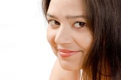 Schüchternes Lächeln der schönen indischen Frauen Stockbilder