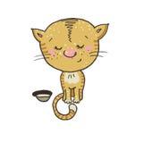 Schüchternes und nettes Kätzchen, das nahe bei einer Schüssel sitzt Lizenzfreie Stockfotos