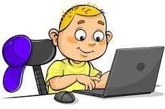 Schüler, der Laptop verwendet vektor abbildung