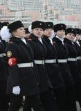 Schüler der Moskau-Staats-Pension bereiten sich für die Parade am 7. November im Roten Platz vor Lizenzfreie Stockfotografie