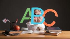 Schüler lernt ABC stock video footage