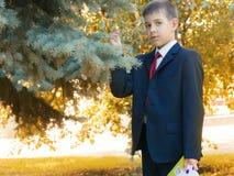 Schüler mit Buch im Herbsthintergrund Stockfotografie