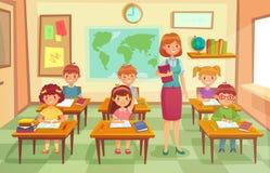 Schüler und Lehrer im Klassenzimmer Schulpädagoge unterrichten den Schülerkindern Lektion Schult Lektionen am Klassenkarikaturvek stock abbildung
