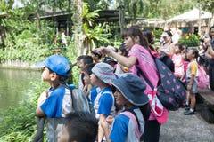 Schüler und Lehrer am Singapur-Zoo Lizenzfreies Stockfoto