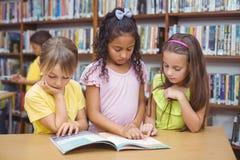 Schülerlesebuch zusammen in der Bibliothek Stockbilder